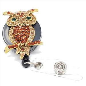 Accessories - Bling Owl Badge Reel - Amber